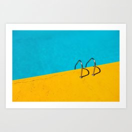 yellow blue pool Art Print