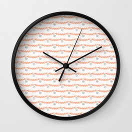 Christmas Tree Branch Bauble Stripes Grey and Orange Wall Clock