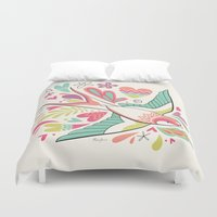 swallow Duvet Covers featuring spring swallow by Hi-deer