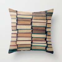 bookworm Throw Pillows featuring Bookworm by Laura Ruth