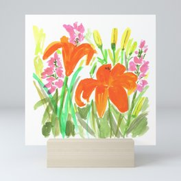 Orange Summer Lilies and Pink Flowers / Wildflowers / Summer Fields of Flowers Mini Art Print