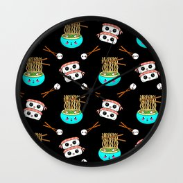 Cute funny Kawaii chibi little blue bowl ramen noodles, happy cheerful sushi with shrimp on top, rice balls and chopsticks black pattern design. Nursery decor. Wall Clock
