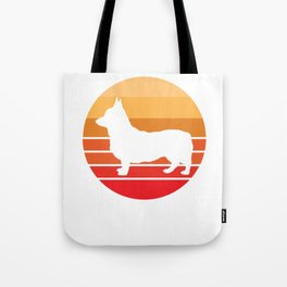 Retro Corgi product Gift Silhouette Circle Sunset Background Tote Bag