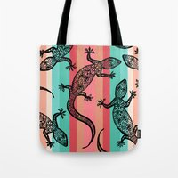 southwest Tote Bags featuring Southwest Gecko by Lisa Argyropoulos