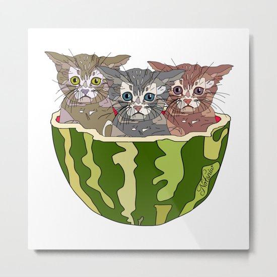 Watermelon Cats Metal Print