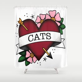 I Love Cats and Tattoos Sailor Jerry Style Tattoo Heart Shower Curtain