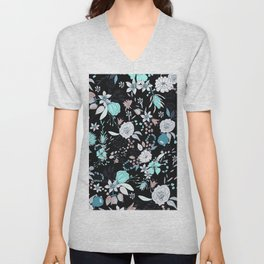 Abstract teal white black country modern floral Unisex V-Neck