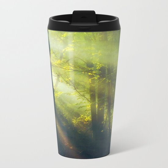 Rays - Morning Light in a Forest Metal Travel Mug