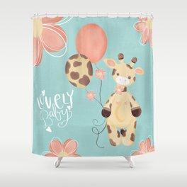 Little and lovely Jiraffe Shower Curtain