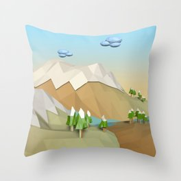 Landscape Low Poly B2 Throw Pillow