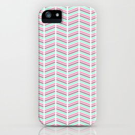 Geometrical neon pink turquoise modern chevron zigzag iPhone Case