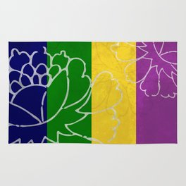 Chinese Flowers & Stripes - Purple Yellow Green Blue Rug