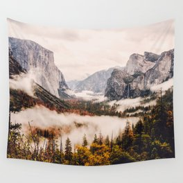 Amazing Yosemite California Forest Waterfall Canyon Wall Tapestry