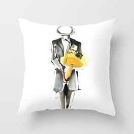 Saxophonist Musician Drawing Throw Pillow