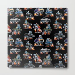 Car Crazy Classic Hot Rod Muscle Cars Cartoons Seamless Pattern Metal Print