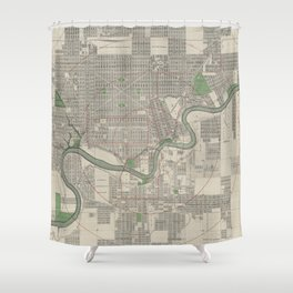 Vintage Map of Edmonton Canada (1912) Shower Curtain