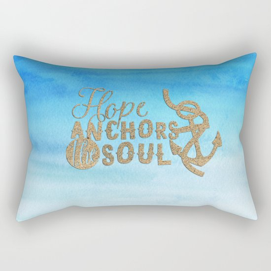Hope anchors the soul - Typography maritime Rectangular Pillow
