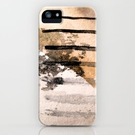 Desert Musings - a watercolor and ink abstract in gray, brown, and black iPhone Case