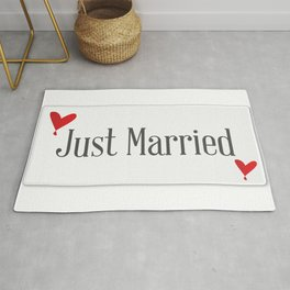 Just Married Plaque Rug