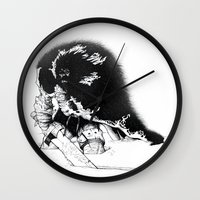 conan Wall Clocks featuring old ass conan by RandomRobot
