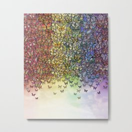 rainbow of butterflies aflutter Metal Print