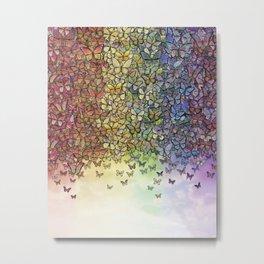 rainbow of butterflies aflutter Metal Print