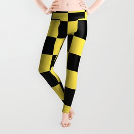 Checkered Pattern: Black & Taxi Yellow Leggings