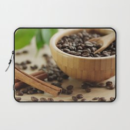 Still life of bamboo shell with fine Arabica coffee and  cinnamon Laptop Sleeve