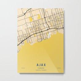 Ajax Yellow City Map Metal Print