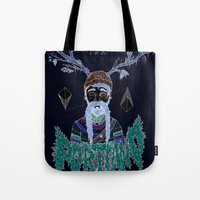 portland Tote Bags featuring PORTLAND I by Michael Todd Berland