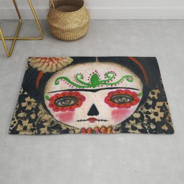Frida The Catrina And The Skull - Dia De Los Muertos Mixed Media Art Rug
