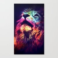 hipster lion Canvas Prints featuring Galaxy Lion - Space Lion - Hipster Lion by Kris James