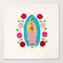 Skull Virgin of Guadalupe_ Hand embroidered Canvas Print