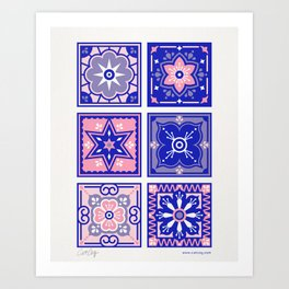 Talavera Mexican Tile – Pink & Periwinkle Palette Art Print