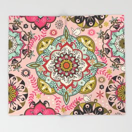 Mandala color pattern Throw Blanket