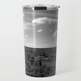 Old village panorama, black and white photography Travel Mug