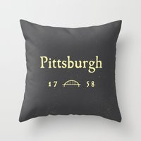 steelers Throw Pillows featuring Pittsburgh by Nick Signet