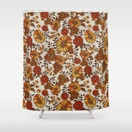 Retro 70s boho hippie orange flower power Shower Curtain