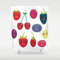Kawaii Cherry Strawberry Raspberry Blackberry Blueberry Cranberry Cowberry  Goji Grape Shower Curtain