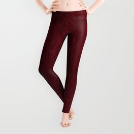 Dark stained red leather texture abstract Leggings
