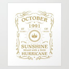 October 1991 Sunshine mixed Hurricane Art Print
