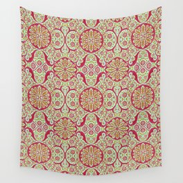 Poppy Pods, Mint, Red and Marigold Wall Tapestry