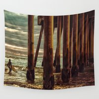 surfer Wall Tapestries featuring Lone Surfer by AMSPHOTOGRAPHY