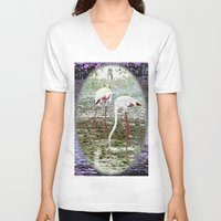 flamingos V-neck T-shirts featuring Flamingos by CrismanArt