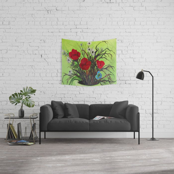 Pickings of Poppies and a Pansy with a  POP of COLOR   Wall Tapestry