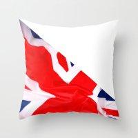 british flag Throw Pillows featuring Im British by Stitched up designs