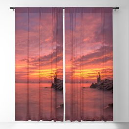 Magnificent Rocky Beach At Beautiful Evening Red Violet Hue High Resolutions Blackout Curtain
