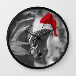 Santa Horse 6 BW Wall Clock