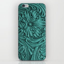 Teal Flower Tooled Leather iPhone Skin