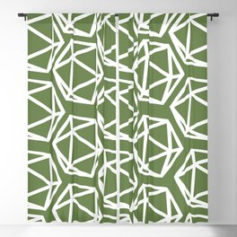 D20 Pattern - Green White Blackout Curtain